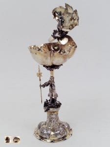 Silver-gilt standing cup, shell Venus, Augsburg 17th century